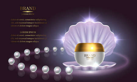 Cosmetics beauty series, premium Pearl Cream packaging for skin care. Template for design poster, placard, presentation, banners, cover, vector illustration.