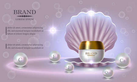 Cosmetics beauty series, premium Pearl Cream packaging for skin care. Illustration
