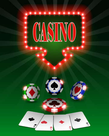 A Vector casino poker chips, template for design backgrounds, cards and banners. 矢量图像