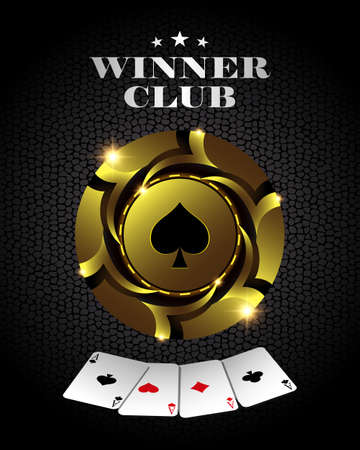 A Vector casino poker gold chip, template for design backgrounds, cards and banners. 矢量图像