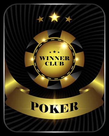 Vector casino poker gold chip, template for design backgrounds, cards, logo, banners.