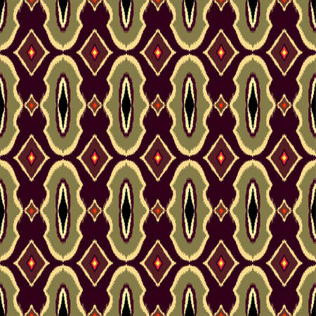 Vector Seamless Geometric Pattern in ethnic vintage style Asian ikat. Template for creating wallpapers, textile, blankets, backdrops. 矢量图像