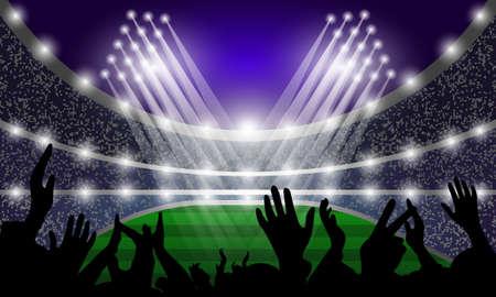 Stadium events, spotlights and fans. Vector illustration. Ilustrace