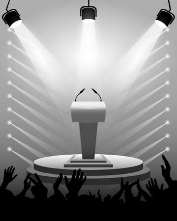 Tribune for performances speaker with microphones on stage, spotlights, cheering fans, background as a template for design activities. Vector illustration. Ilustrace
