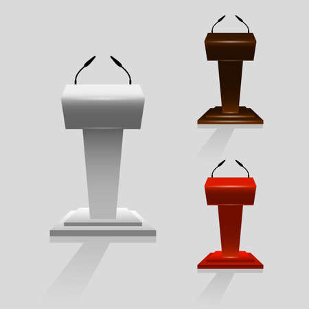 Set of Tribune for performances or speaker with microphones on stage. Vector illustration on gray background.