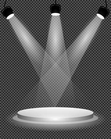 Spotlights on stage, podium and bright light illumination vector illustration
