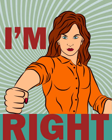 Beautiful girl punching right, doodle colorful retro poster in the style of pop art. Vector illustration. Ilustrace