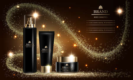 Cosmetics beauty series, mock up, ads of premium spray cream for skin care. Template for design poster, placard, presentation, banners, cover, vector illustration.