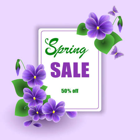 Vector mockup of banner beautiful spring violet flower on background, layout for sale flyer, illustration for design.