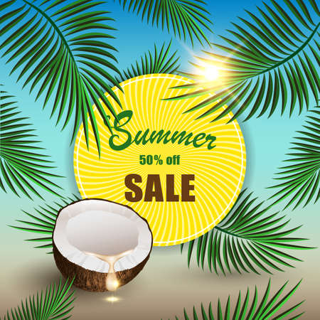 Summer sale vector mockup for banner design promotion. Tropical sunny circle with palm leaves and coconut on the beach background, illustration. 矢量图像