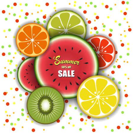 Summer sale mockup for banner design promotion. Tropical fruit watermelon, kiwi, lemon, grapefruit, orange, lime on holiday background.