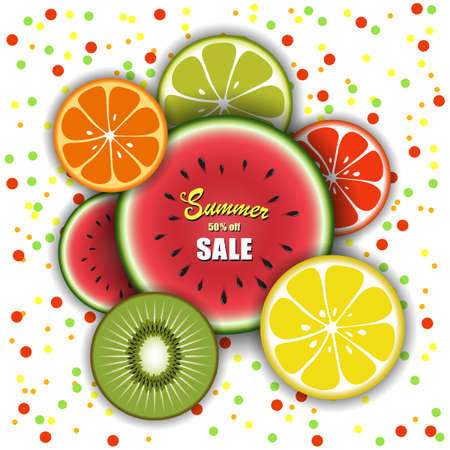 Summer sale mockup for banner design promotion. Tropical fruit watermelon, kiwi, lemon, grapefruit, orange, lime on holiday background.
