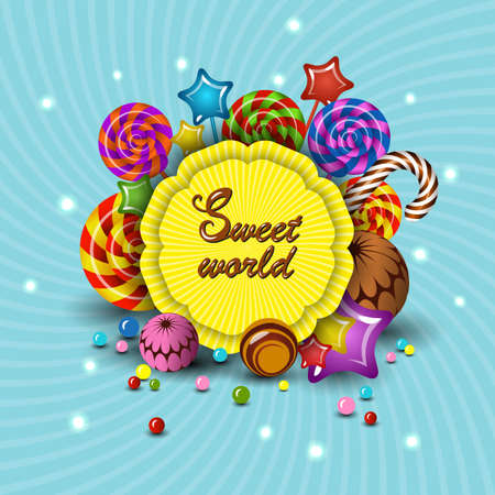Sweet World, cartoon logo children's treats lollipops, candy. Isolate illustration for kids party colorful mockup for design.