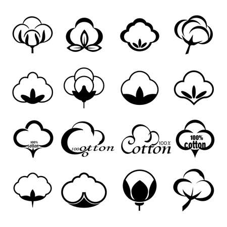 Vector set of icons indicating the cotton marks, labels or textile products, isolated on white background. Mockup for design, illustration. 일러스트