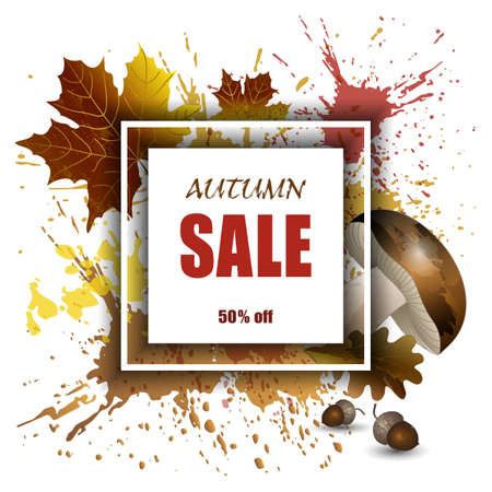 Autumn sale, vector background mockup for banner, products presentation, advertisement. Splashes and smears with yellow leaves, mushroom and acorns, illustration.