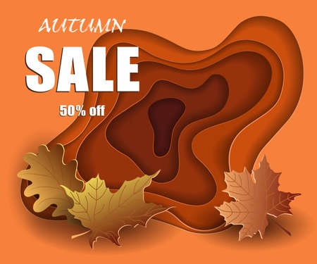 Autumn sale banner in cut paper style, mockup design discounted season, colorful yellow leaves on orange 3d background, template for advertising. Vector illustration.