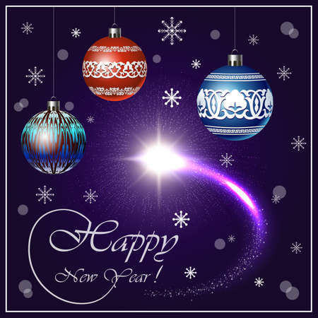 Christmas and New Year vector banner with snowflakes, sparks flares, balls style of Uzbek national patterns. Design for posters, cards, typographic products, advertising, illustrations.