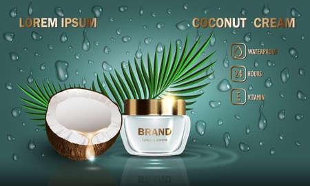 Kosmetik Kokos-Beauty-Serie, Premium-Creme für die Hautpflege und Tropfenset. Vorlage für Designplakat, Plakat, Präsentation, Banner, Mockup, Anzeigen, Vektorillustration. Vektorgrafik