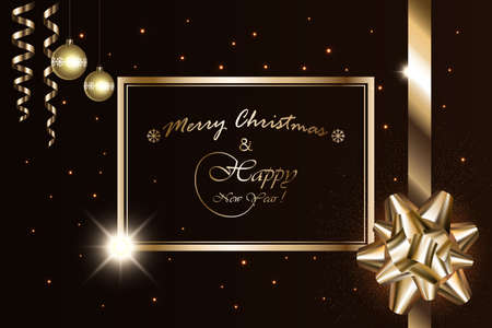 Merry Christmas and New Year banner, vector sparkling lights with golden bow, ribbon, stars, balls and Xmas luxury sparks on black background. Mockup for page, posters, cards, presents. 矢量图像