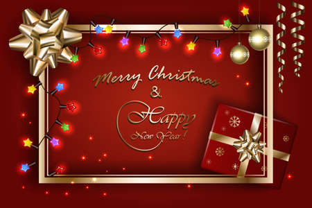 Merry Christmas and New Year banner, vector sparkling lights with golden bow, ribbon, stars, balls and Xmas luxury sparks on red background. Mockup for page, posters, cards, presents.