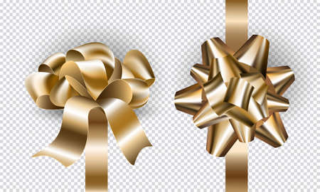 Gift holiday New Year bows and ribbons set for design. Realistic golden bow mock up top and side view with shadows isolated on transparent background. Vector illustration.