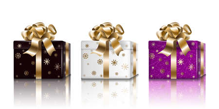 Gift box Holiday New Year set. Black white purple 3d realistic surprise boxes for design, isolated on light background, vector. 矢量图像