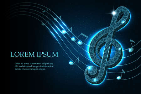 Music treble clef and notes in swirl on a dark blue starry sky background in polygonal style, mockup layout for design, vector illustration.