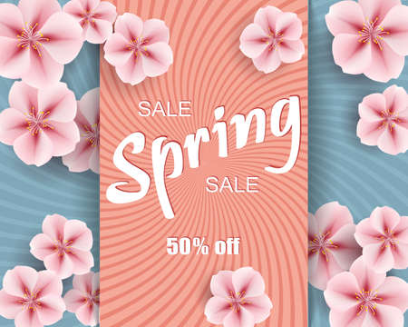 Vector sale ad mockup of  banner beautiful spring pink flowers on colorful background, layout for flyer, illustration for design. 矢量图像