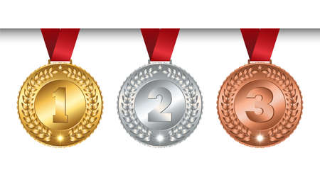 Set of vector winner medals golden silver bronze for champions with red ribbon, signs of first, second and third place, isolated mockup on white background, illustration.