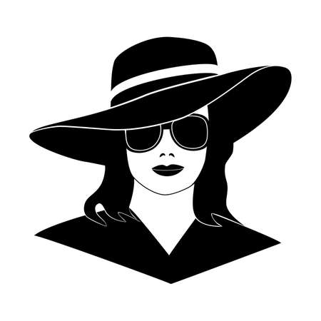 Young lady girl in elegant retro hat, black isolated silhouette on white background, template mock up for design logo, sign, banner. Vector illustration.