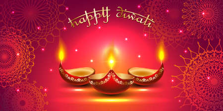 Vector banner India Diwali, Deepavali festival of lights, red background Dipavali with gold ornaments, fire glowing lamp, flashes and sparks, illustration. 矢量图像