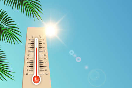A thermometer outdoors in the summer in the sun shows hot weather temperature, it's time to sunbathe on the beach. Mockup for poster, ads, banner, cover, vector illustration.