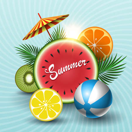 Summer sunny sale banner with circle watermelon, kiwi, orange, lime, beach ball, palm leaves, umbrella on a blue background. Vector illustration.
