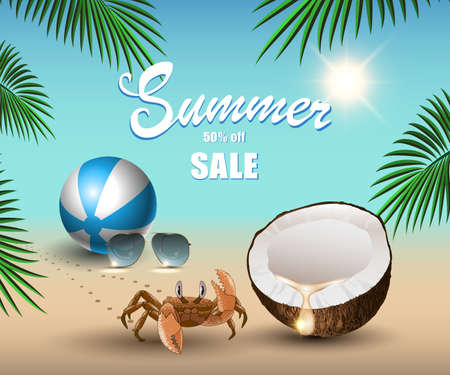 Summer banner for promoting sale, relaxing on the beach sand, coconut, ball, crab, sunglasses, palm tree leaves in the background of the ocean. Vector illustration.