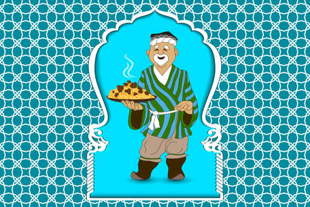 Cartoon vector doodle hand draw an Uzbek man prepares and invites pilaf  the national dish of Uzbekistan, Asia. Illustration as a template for the cook poster, mockup teahouse sign, billboard, banner.