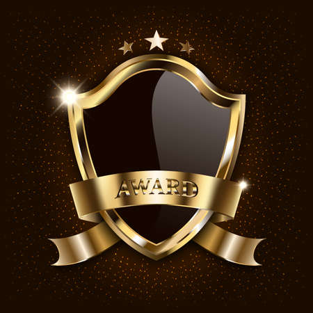 Vector award luxury black shield with golden frame and sparkling ribbon isolated on star space background. Mockup for design of winner sign, illustration, banner.