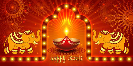 Vector banner India Diwali, Deepavali festival of lights, red background Dipavali with gold ornaments, elephants, fire glowing lamp, flashes and sparks, illustration.