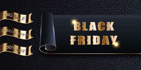 Black Friday Sale, vector mockup of banner, invitation, card, ads, offer. Stylish luxury golden design dark background with texture, twisted and rolled poster, illustration.