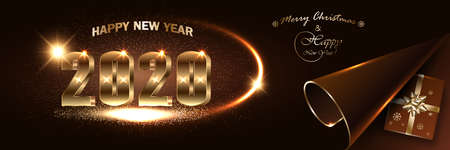 Christmas New Year 2020 dark banner mockup. Sparkling Xmas holiday lights, confetti, gift boxes with a gold ribbon and bow, luxurious shine text. Illustration for website design, greeting card.