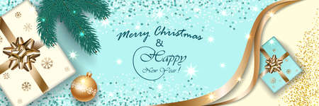 Merry Christmas and Happy New Year 2020, Xmas vector banner viewed from above, mockup for holiday illustration design, light background, gift boxes with bow, confetti, tree branch, ball, snowflakes. 免版税图像 - 134256371