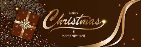 Merry Chistmas and Happy New Year 2020 shining Xmas background with gold text, confetti, gift boxes with a golden ribbon and bow and glitter, vector illustration.