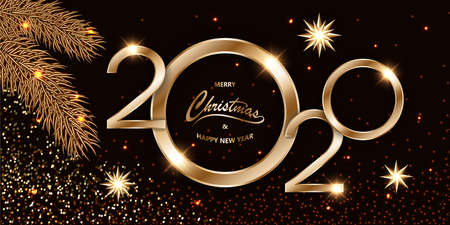 Merry Chistmas and Happy New Year 2020 shining luxury Xmas dark background with gold text, fir branches and glitter stars, sparkling dust, tinsel. Mockup for banner vector illustration.