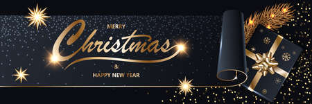 Merry Chistmas and Happy New Year 2020 shining Xmas luxury black glitter background with gold text, fir tree, gift box with a golden ribbon and bow, vector illustration.