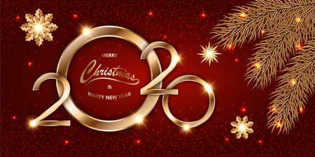 Merry Chistmas and Happy New Year 2020 shining luxury Xmas red background with gold text, fir branches and glitter stars, sparkling dust, tinsel. Mockup for banner, vector illustration.