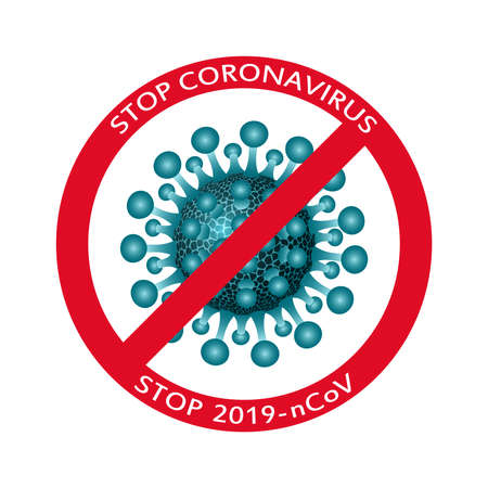 Vector banner sign danger epidemic coronavirus, warning healthcare fight 2019-ncov, drawing corona virus bacteria with stop icon. Illustration for poster design.