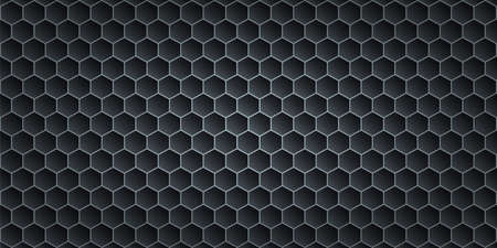 Black metallic abstract background, perforated steel hexagon mesh. Dark mockup for cool banners, vector illustration.