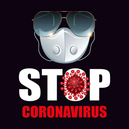 Vector poster warning health care stop coronavirus. Use a glasses, mask and goggles against the 2019-ncov corona virus epidemic. Banner illustration.