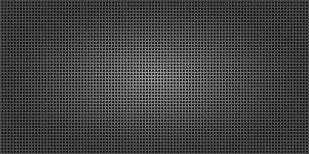 Black metallic abstract background, perforated steel network mesh. Dark mockup for cool banners, vector illustration.