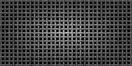 Fondo astratto metallico nero, maglia della rete d'acciaio perforata. Mockup scuro per banner cool, illustrazione vettoriale. Vettoriali