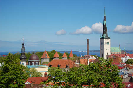travel features: Tallinn cityscape, Estonia. Eastern Europe Stock Photo
